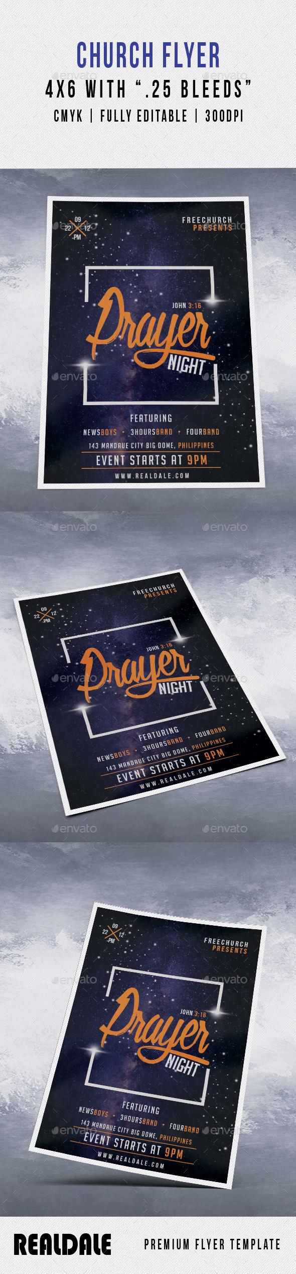 GraphicRiver Prayer Night Church Flyer 21135834