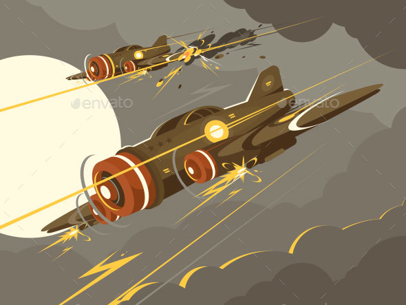 GraphicRiver Military Aircraft in Air Combat 21135938