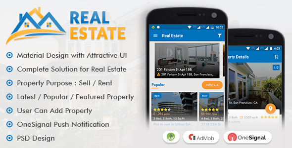 Real Estate App with Material Design by viaviwebtech | CodeCanyon