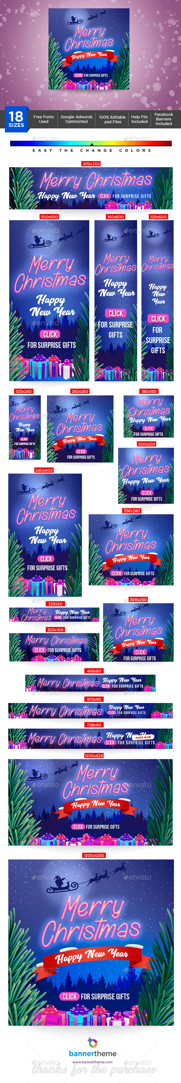 Merry Christmas Banner - Banners & Ads Web Elements