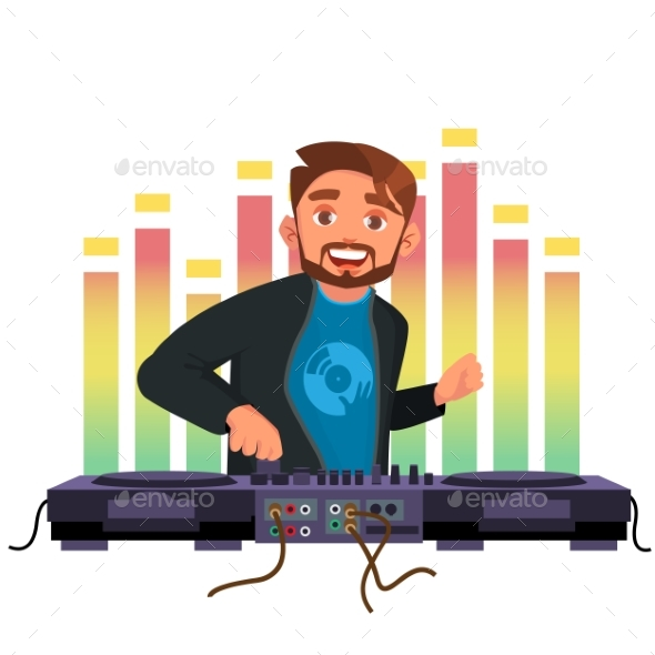 GraphicRiver Dj Vector Playing Disco House Music Stylish Man 21136114