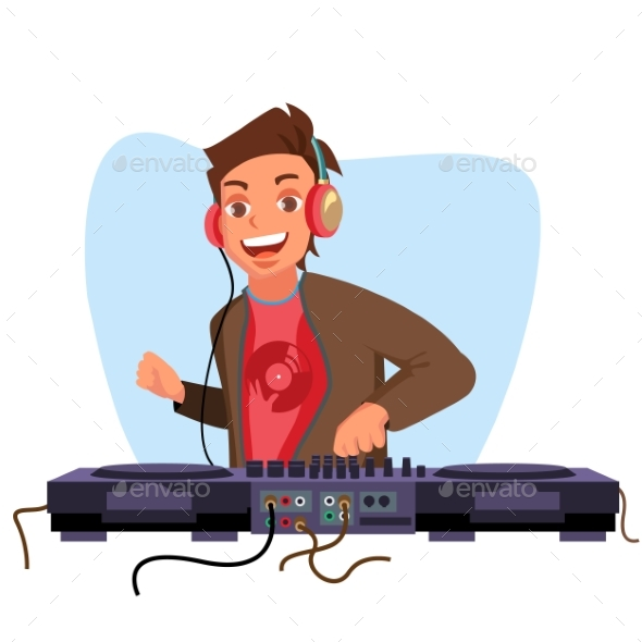 Modern Dj Vector. Playing Progressive Electro - People Characters