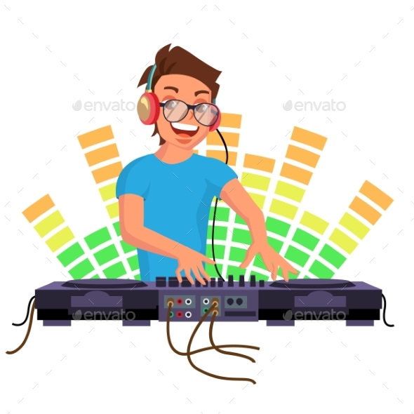 Professional Dj Vector. Playing Disco House Music - People Characters
