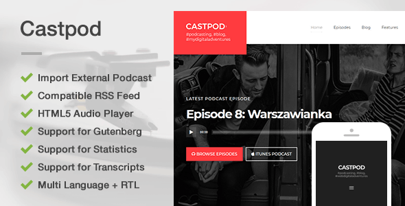 ThemeForest Castpod A Professional WordPress Theme for Audio Podcasts 20886230