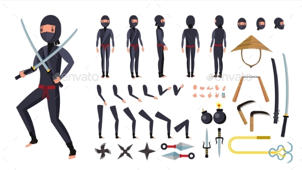 GraphicRiver Ninja Vector Animated Character Creation Set 21136129