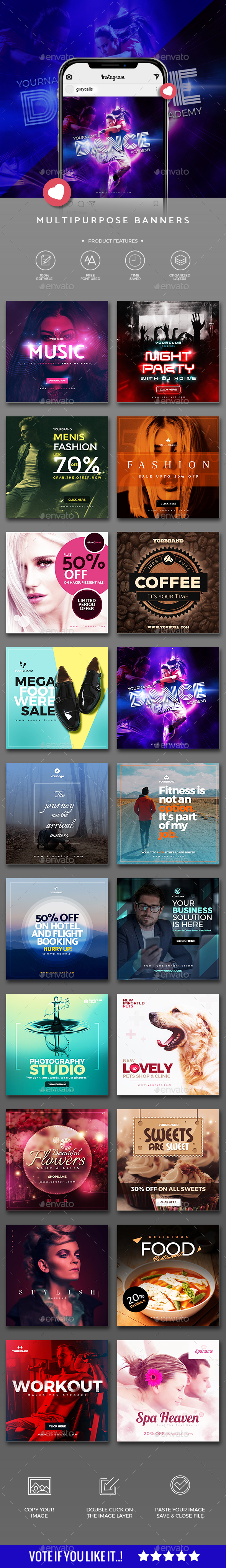 GraphicRiver 20 Multiperpose Instagram Banners 21136241