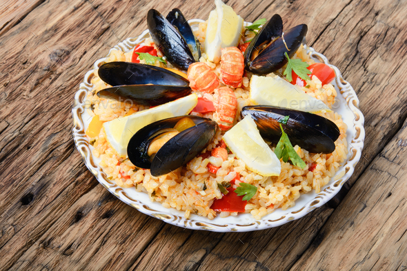 paella with seafood - Stock Photo - Images