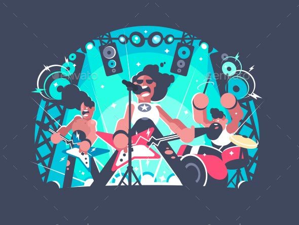 Concert of Rock Band - People Characters