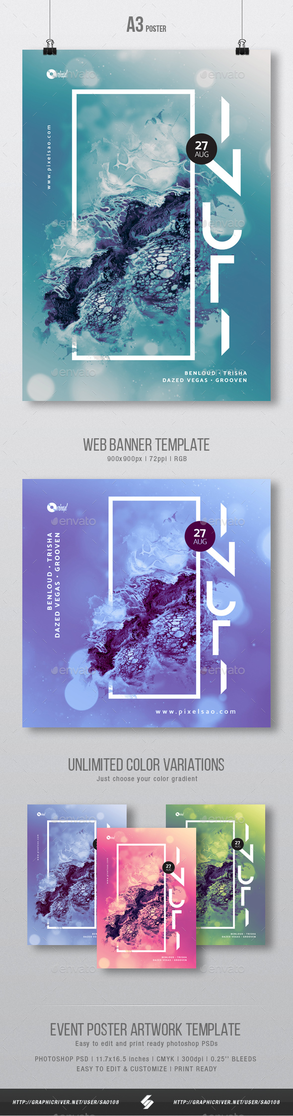 Inuti - Abstract Party Flyer / Poster Artwork Template A3 - Clubs & Parties Events