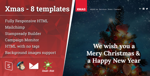 xmas - 8 responsive email templates with mailchimp editor & stampready builder (newsletters) Xmas – 8 Responsive Email Templates with Mailchimp Editor & StampReady Builder (Newsletters) Theme Preview