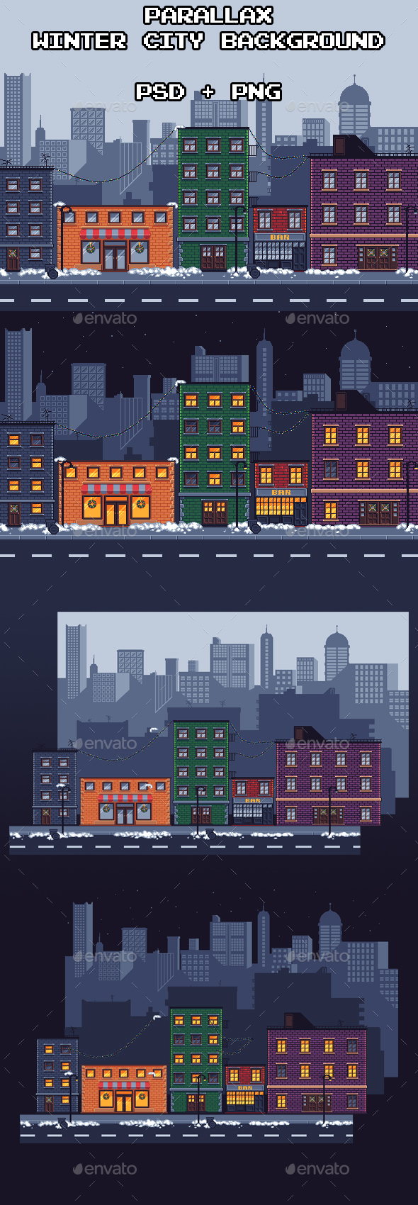 Parallax Winter City Background - Backgrounds Game Assets