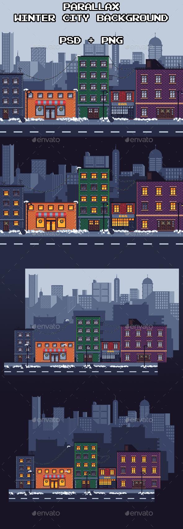 GraphicRiver Parallax Winter City Background 21137018