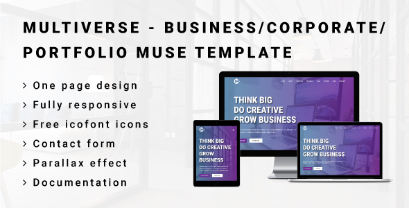 ThemeForest MULTIVERSE Multipurpose Business Corporate Portfolio Muse Template 21037317