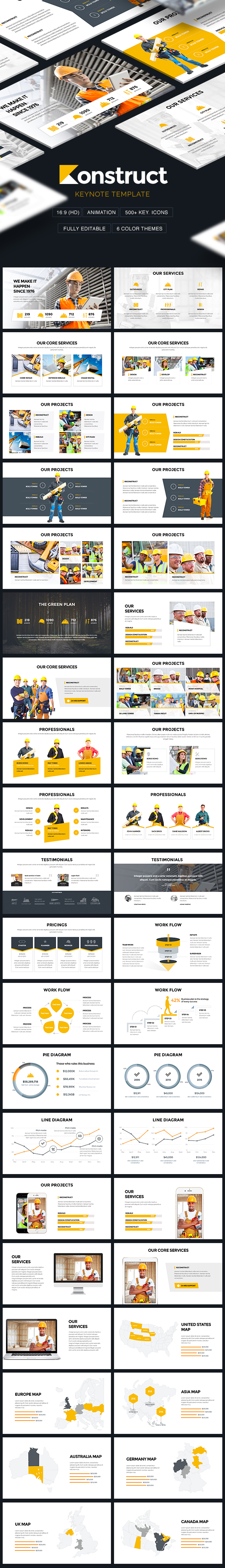 Konstruct - Construction & Architecture Theme Keynote Template - Keynote Templates Presentation Templates