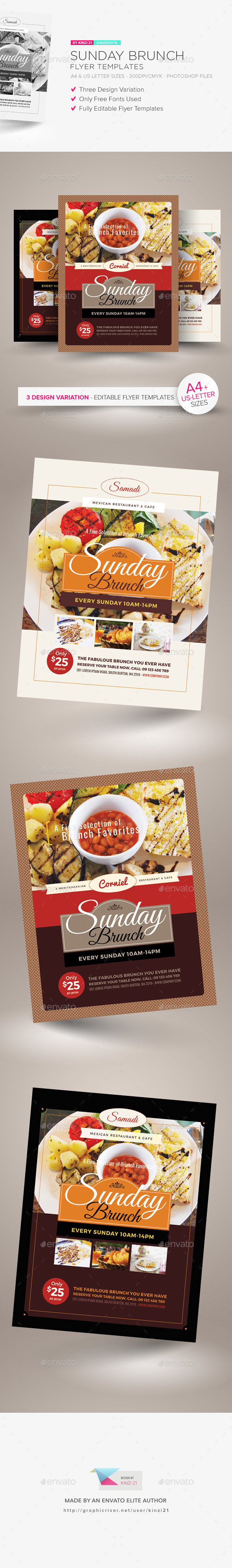 GraphicRiver Sunday Brunch Flyer Templates 21137284