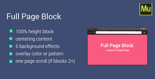 Full Page Block for Adobe Muse - CodeCanyon Item for Sale
