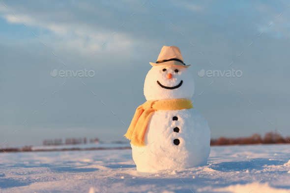Funny snowman in yellow hat - Stock Photo - Images