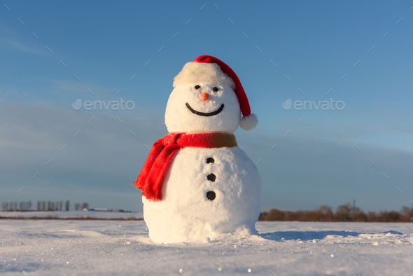 Funny snowman in Santa hat - Stock Photo - Images