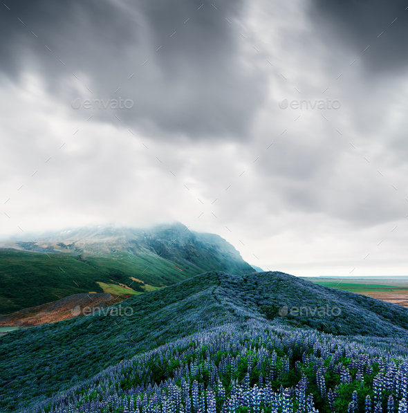 Typical Iceland landscape with mountains - Stock Photo - Images