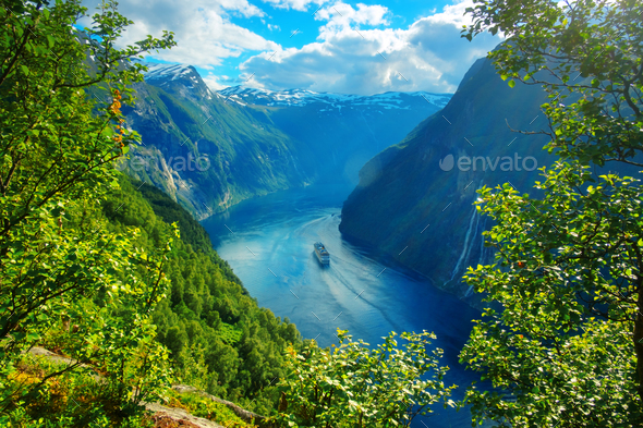 Breathtaking view of Sunnylvsfjorden fjord - Stock Photo - Images