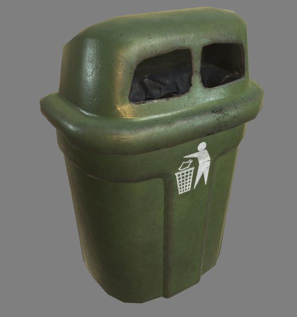 3DOcean Wall Trash Bin PBR 21137384