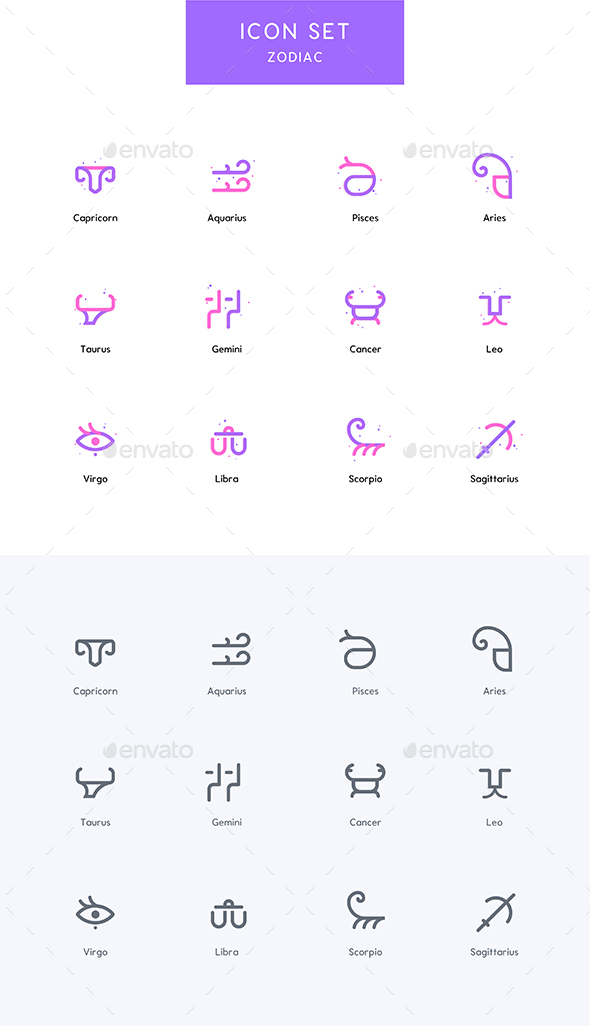 Zodiac - Horoscope Icons Set - Characters Icons