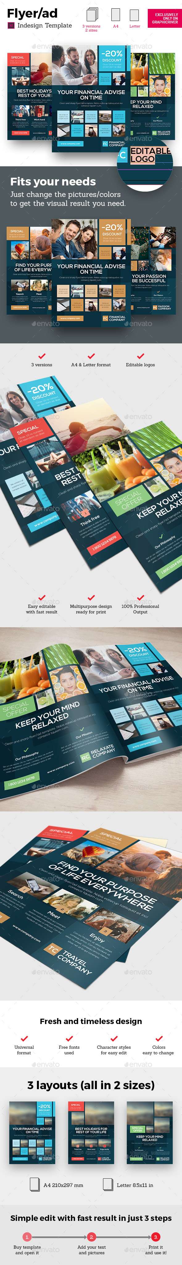 GraphicRiver Corporate Business Universal Flyer ad 3x Square Dark Indesign Template 21133709