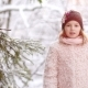 A Beautiful Teenage Girl Stands in the Winter Forest - VideoHive Item for Sale