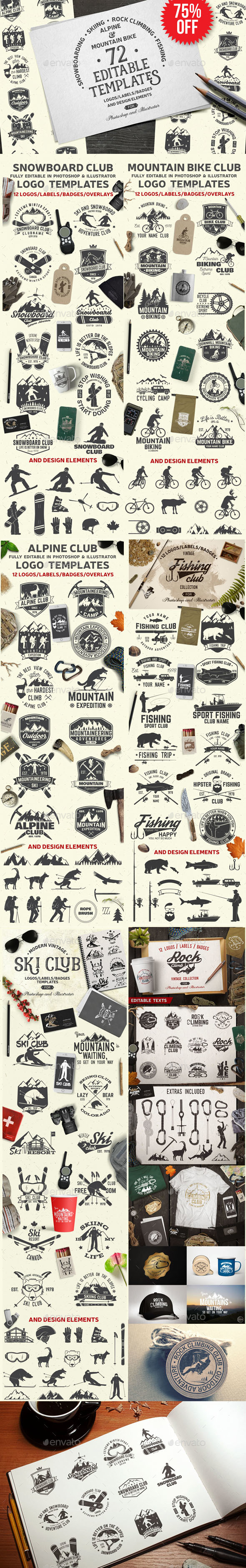 GraphicRiver Vintage Adventure Logo Bundle 21137658