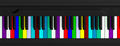 Colorful piano keyboard, top view, banner. 3d illustration - PhotoDune Item for Sale