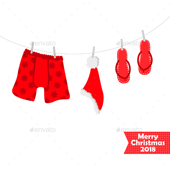 Christmas card 2018. Beach accessories, swimsuit - Christmas Seasons/Holidays