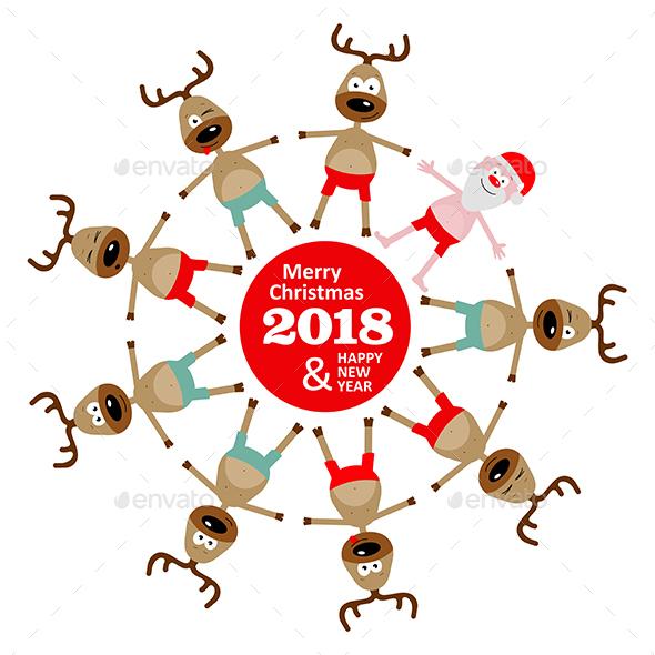 Christmas Greeting Card with Reindeer and Santa Claus 2018 - Christmas Seasons/Holidays
