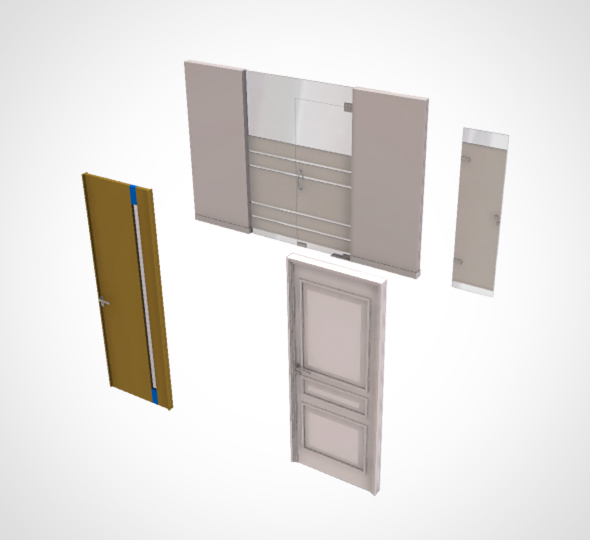 3DOcean office door set 4 door 21137772