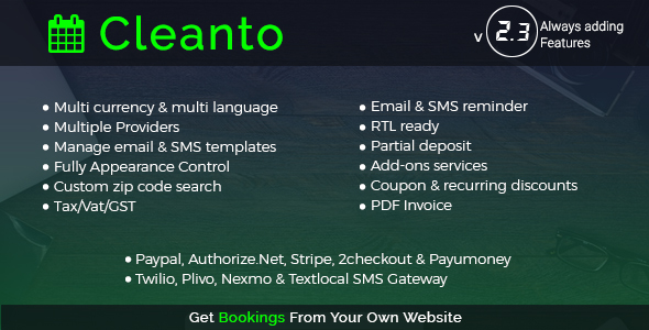 Cleanto - Online Bookings for Cleaning Services - CodeCanyon Item for Sale