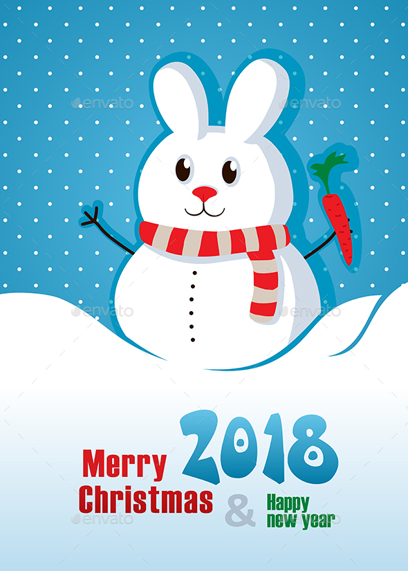Merry Christmas Card with rabbit. Happy New Year 2018 - Christmas Seasons/Holidays
