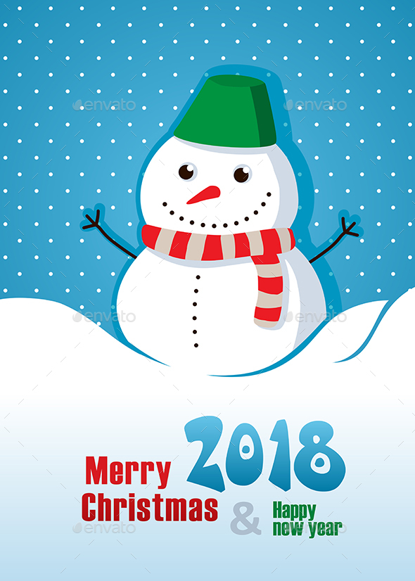 Merry Christmas Card with snowman. Happy New Year 2018 - Christmas Seasons/Holidays