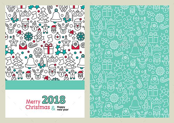 Merry Christmas Card. Happy New Year 2018 - Christmas Seasons/Holidays