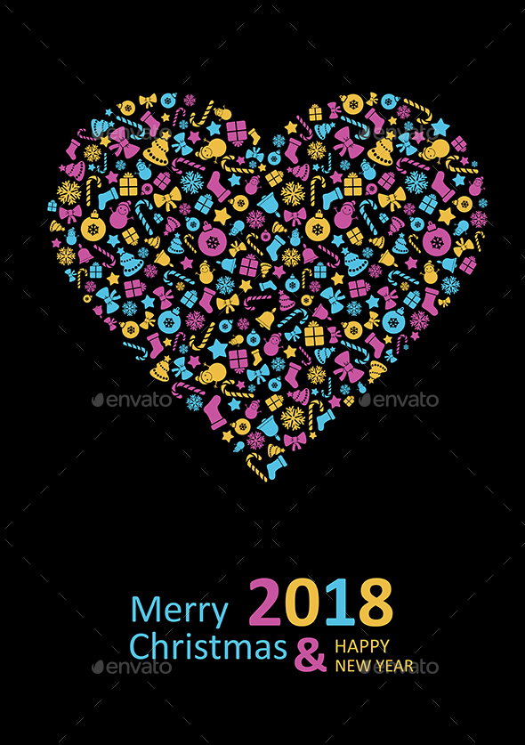 Merry Christmas Card with heart 2018 - Christmas Seasons/Holidays