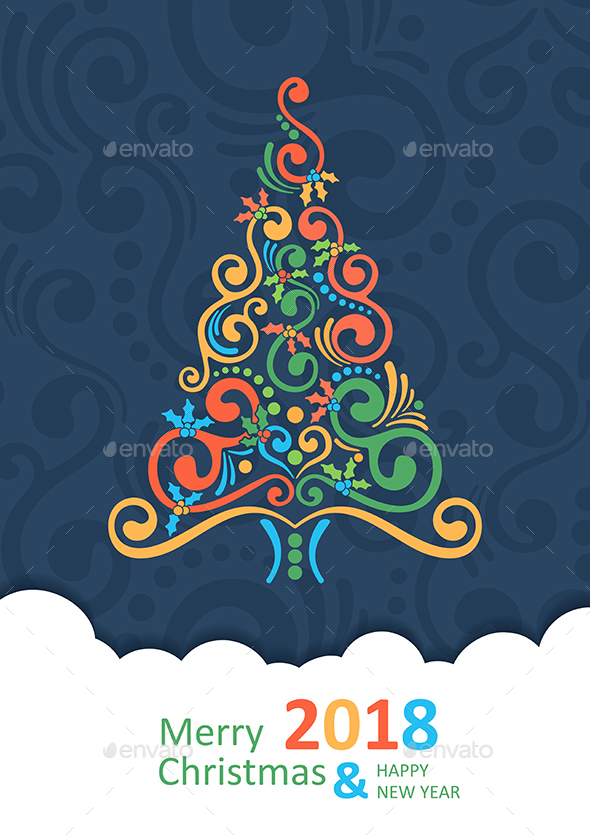 Merry Christmas Card with Christmas Tree. Happy New Year 2018 - Christmas Seasons/Holidays