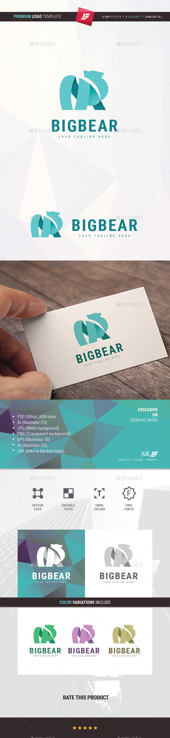 Abstract Big Bear Logo - Animals Logo Templates