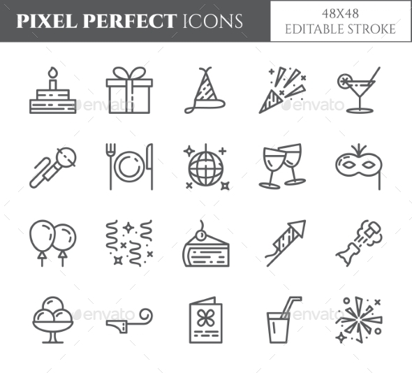 GraphicRiver Birthday Party Theme Pixel Perfect Thin Line Icons 21137907