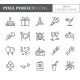 Birthday Party Theme Pixel Perfect Thin Line Icons