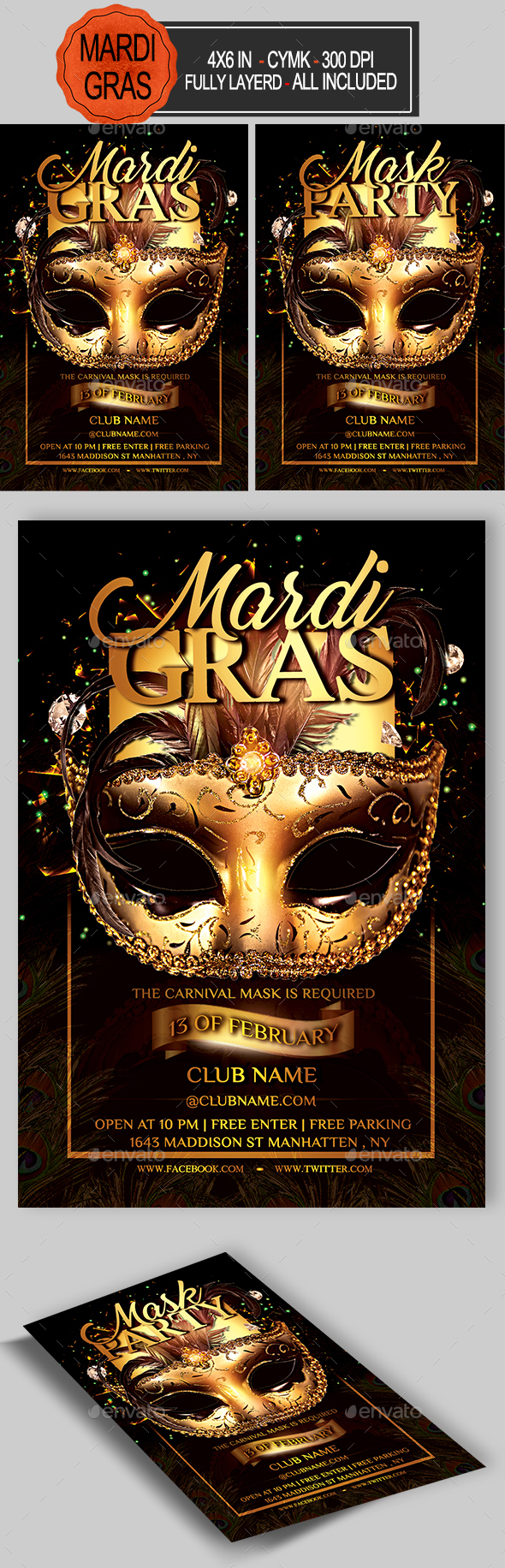 Carnival Mardi Gras Flyer - Holidays Events