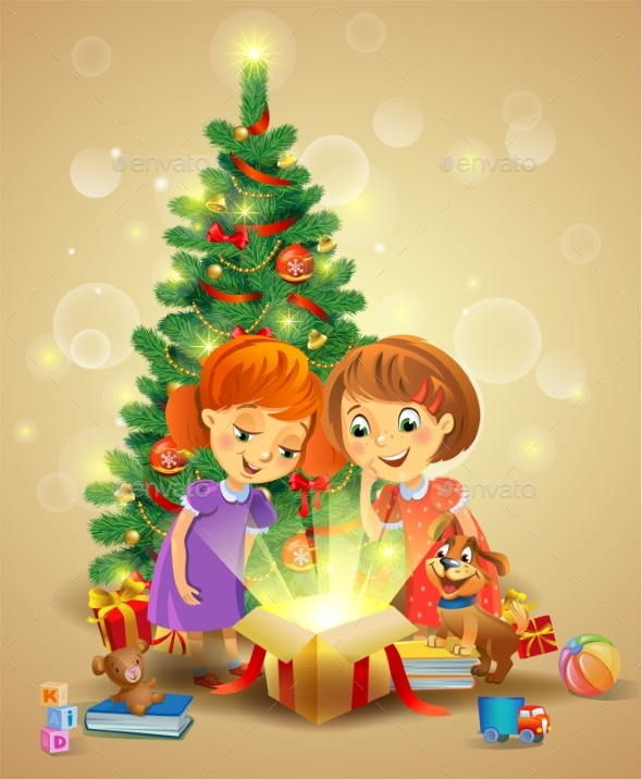 Christmas Miracle - Girls Opening a Magic Gift - Seasons/Holidays Conceptual