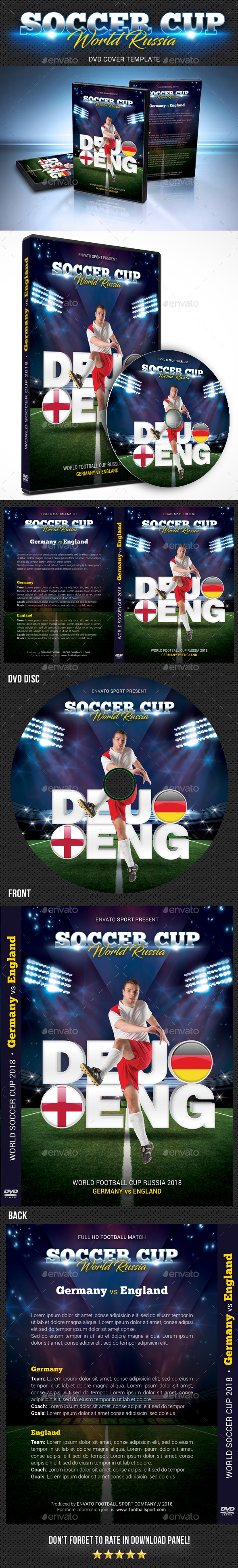World Soccer Cup Russia 2018 DVD Cover - CD & DVD Artwork Print Templates