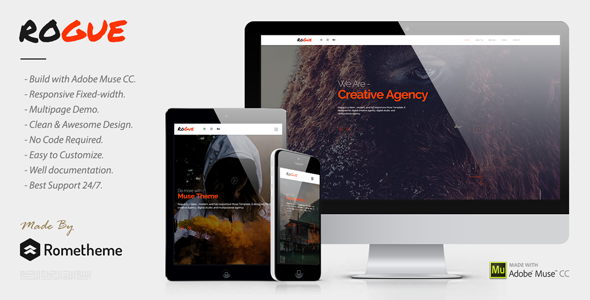 ThemeForest ROGUE Creative Multi-purpose MUSE Template 21138380