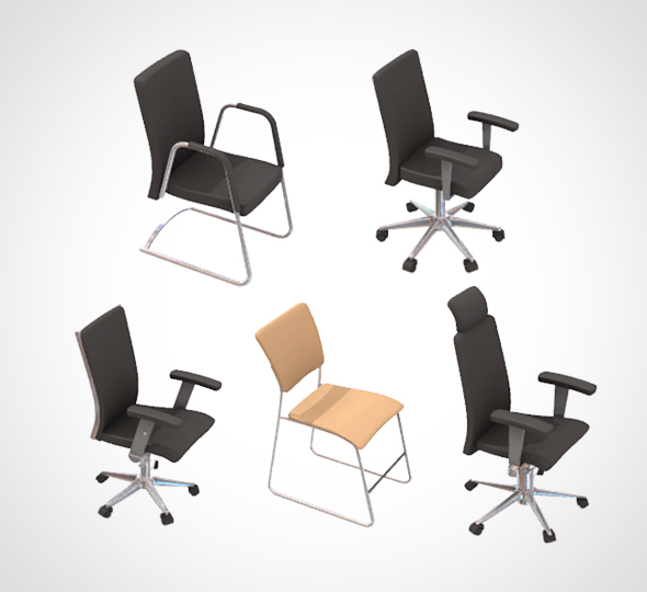 3DOcean office chair set 001 21138482