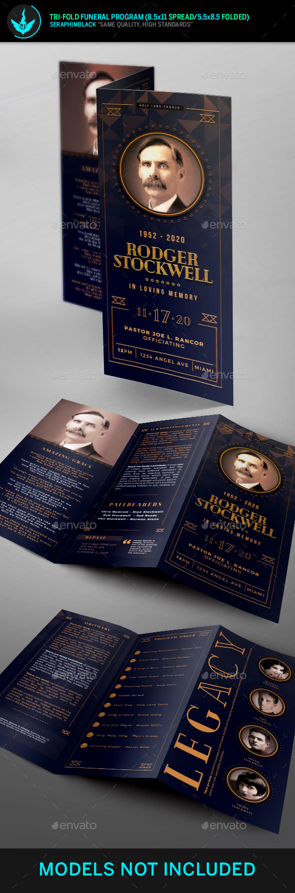 Art Deco Tri-Fold Funeral Program Template - Informational Brochures