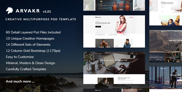 Arvakr - Creative Multi-Purpose PSD Template - Creative PSD Templates