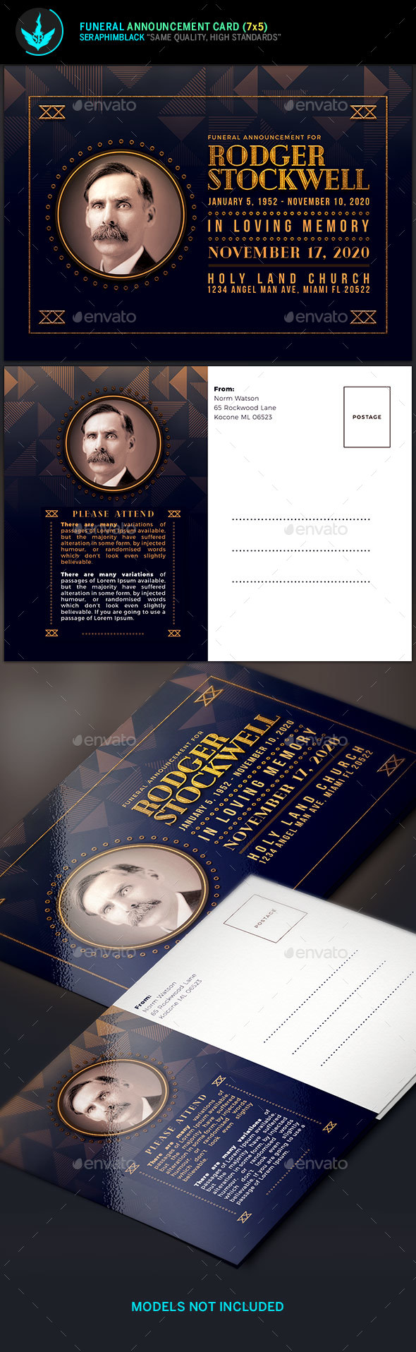 Art Deco Funeral Announcement Card Template - Church Flyers